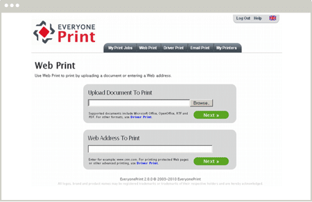 Impression web avec EveryonePrint